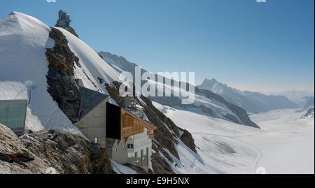Building at Jungfraujoch, behind the Aletsch glacier, Canton of Bern, Switzerland - Stock Photo