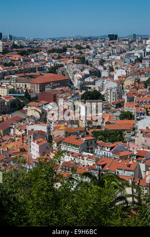 View of the city from the Castello de Sao Jorge, Lisbon, Lisbon District, Portugal - Stock Photo