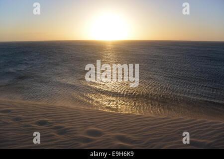 Sunset on the sea, Ceará, Brazil - Stock Photo