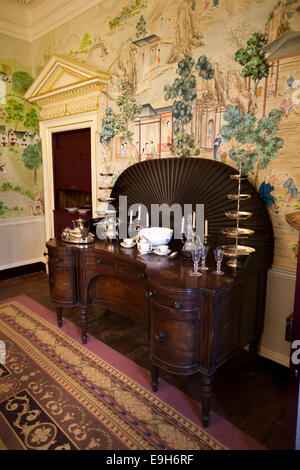 UK, England, Wiltshire, Avebury Manor, Governor of Jamaica dining room, with fromental hand painted wallpaper - Stock Photo