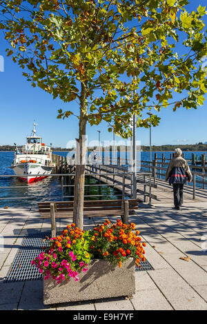 Boat Harbour, Prien Stock, Chiemsee, Chiemgau, Upper Bavaria , Germany, Europe. - Stock Photo