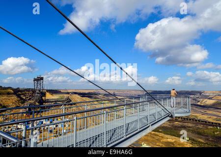 Viewing platform, Garzweiler II mining area, open-cast lignite mine, Garzweiler, Juechen, North Rhine-Westphalia, - Stock Photo