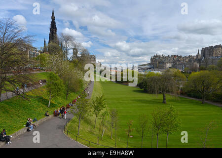 Princes Street Gardens, public park, Edinburgh, Scotland, United Kingdom - Stock Photo