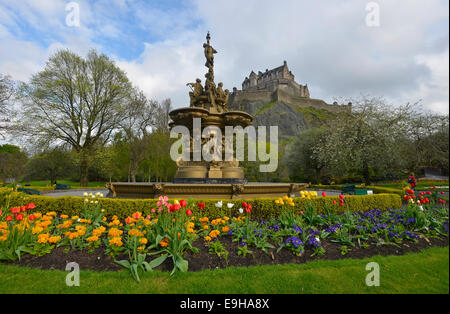 The Ross Fountain in Princes Street Gardens, public park, Edinburgh Castle at back, Edinburgh, Scotland, United - Stock Photo