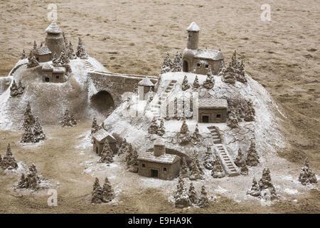 Medieval village, sand sculpture, Torremolinos, Málaga province, Andalusia, Spain - Stock Photo