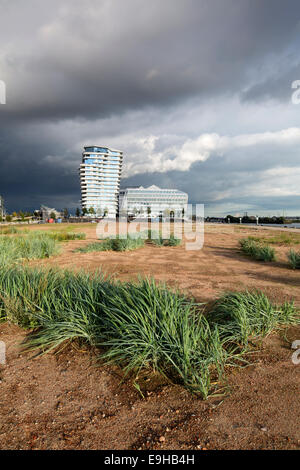 Marco Polo Tower and Unilever House, HafenCity, Hamburg, Hamburg, Germany - Stock Photo