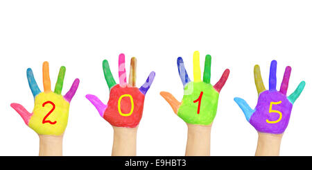 Kid`s colorful hands forming number 2015. Isolated on white background. The symbol of the new year - Stock Photo