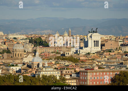 Rome. Italy. View across the city towards Piazza Venezia  from Piazza Garibaldi on the Gianicolo hill. - Stock Photo