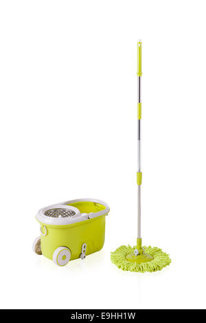 Green cleaning mop and bucket isolated on white background - Stock Photo