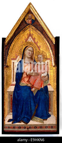 Madonna and Child. Top bezel: Christ blessing by Taddeo Gaddi known since 1327 - 1366 Italy Italian - Stock Photo