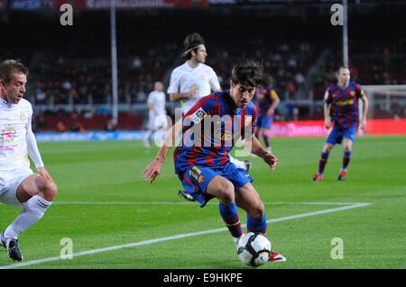 BARCELONA - NOV 10: Bojan Krkic, F.C Barcelona player, plays against Cultural Leonesa at the Camp Nou Stadium. - Stock Photo