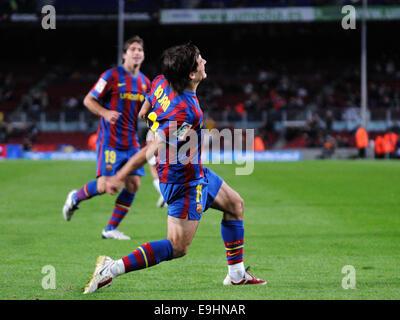 BARCELONA - NOV 10: Bojan Krkic, F.C Barcelona player, celebrates his goal against Cultural Leonesa at the Camp - Stock Photo