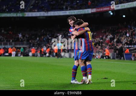 BARCELONA - NOV 10: Bojan Krkic and Maxwell, F.C. Barcelona players, celebrating a goal. - Stock Photo