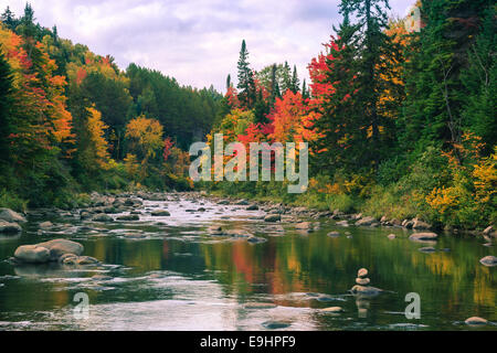 Autumn colors  in Adirondacks State Park, close to Lake Placid in the northern part of New York State, USA - Stock Photo