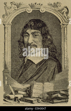 Rene Descartes (1596-1650). French philosopher. Engraving by Rousseau. - Stock Photo