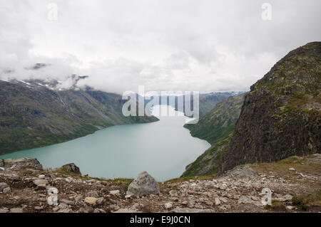 View over Gjende lake from Besseggen mountain ridge, Jotunheimen national park, Oppland county, Norway - Stock Photo