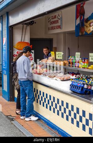 Takeaway seafood restaurant on Old Fisherman's Wharf, Monterey, California, USA - Stock Photo