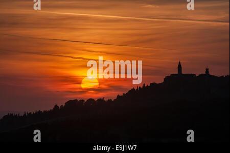 Pienza town at sunset, Tuscany, Italy