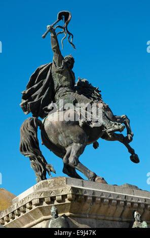 statue of william the conqueror, falaise, france - Stock Photo