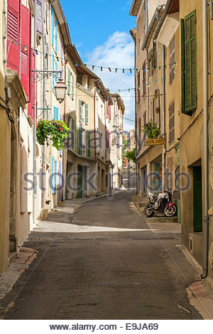 Empty street in small town of Valensole, Alpes-de-Haute-Provence, Provence-Alpes-Côte-d'Azur, France - Stock Photo