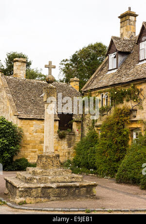 Old houses in Cotswold district of England - Stock Photo