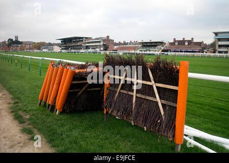 Hurdles at Warwick Racecourse, UK - Stock Photo
