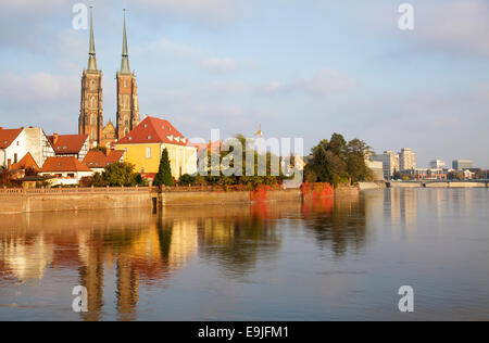 Odra River with Cathedral Island - Cathedral of St. John the Baptist and the Archbishop's residence, Wroclaw, Poland - Stock Photo