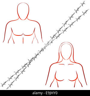 Outline illustration of a man and a woman who are divided by a barbed wire. - Stock Photo
