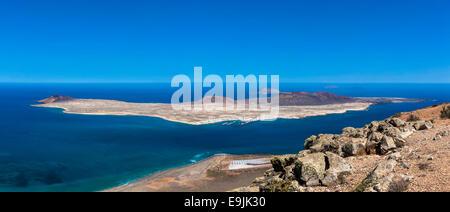 View of the island La Graciosa from Mirador del Rio, Lanzarote, Canary Islands, Spain - Stock Photo
