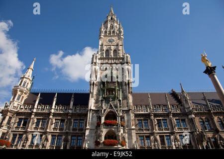 The New Town Hall on Marienplatz square, Munich, Upper Bavaria, Bavaria, Germany - Stock Photo