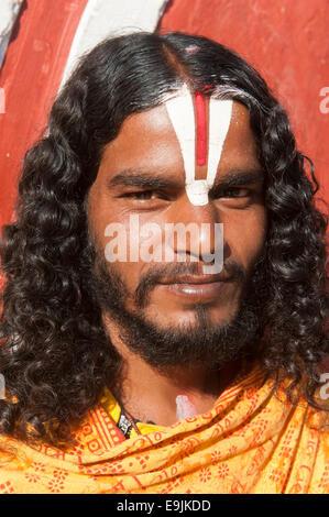 Young Sadhu, holy man, pilgrim of Lord Vishnu, portrait, Budhanilkantha, Kathmandu District, Bagmati Zone, Nepal - Stock Photo
