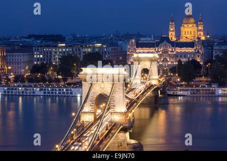 Old Chain Bridge, across the River Danube, Budapest, Hungary Europe. - Stock Photo