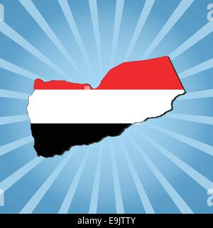 Yemen map flag on blue sunburst illustration - Stock Photo