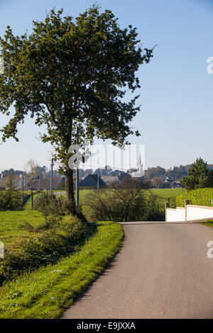 Calm and pleasant view of Saint-Barnabe village from afar - Stock Photo