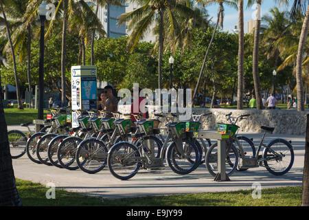 DECOBIKE RENTAL STATION LUMMUS PARK SOUTH BEACH MIAMI BEACH FLORIDA USA - Stock Photo