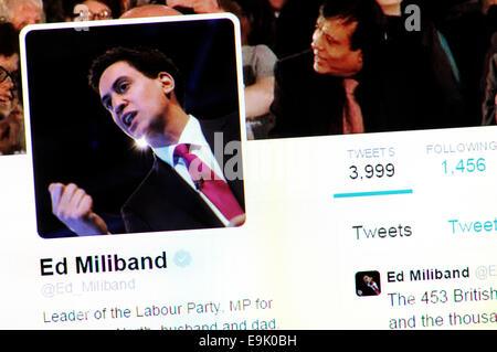 Ed Miliband's Twitter account - screenshot of profile page - Stock Photo