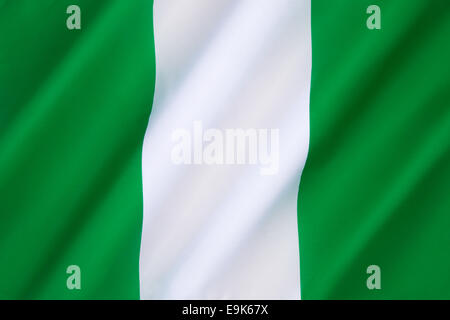 The Flag of Nigeria - designed in 1959 and officially adopted on October 1st 1960. - Stock Photo