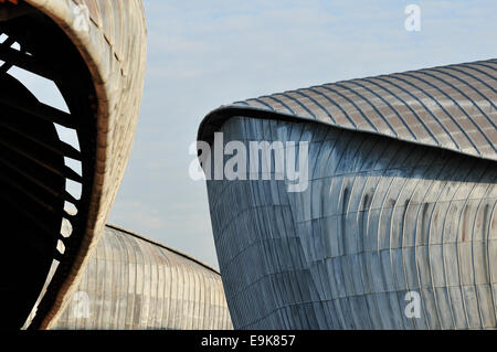 Architectural detail of Renzo Piano's Parco della Musica Auditorium Rome, Italy. - Stock Photo