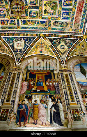 Piccolomini Library, Siena Cathedral, Tuscany, Italy - Stock Photo
