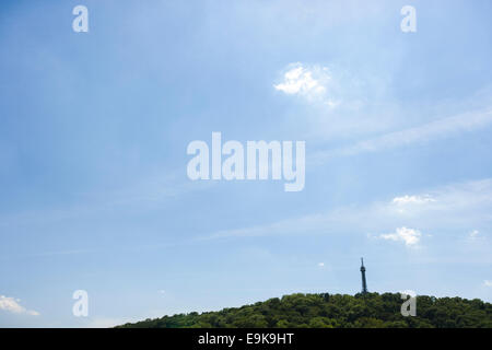 Petrin Lookout Tower on hill, Prague, Czech Republic - Stock Photo