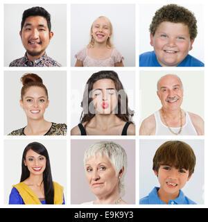 Collage of multiethnic people - Stock Photo
