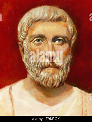 Pythagoras of Samos (570 BC-495 BC). Ionic Greek philosopher, and mathematician. Portrait. Watercolor. - Stock Photo