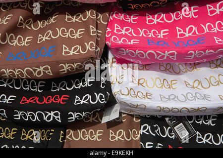 BAGS FOR SALE ON STALL IN BRUGGE - Stock Photo