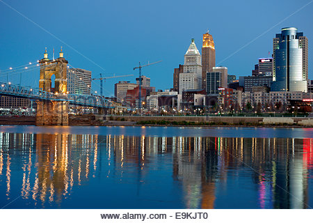 Twilight view of Cincinnati, Ohio, USA - Stock Photo