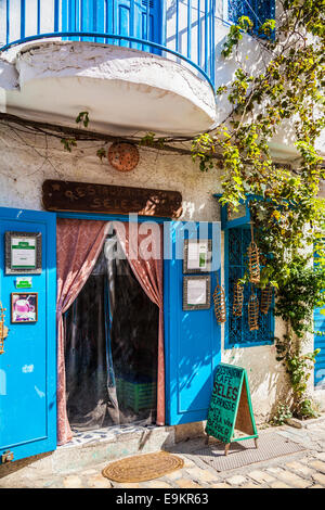 Entrance to a traditional Tunisian cafe restaurant in the medina in Sousse,Tunisia. - Stock Photo