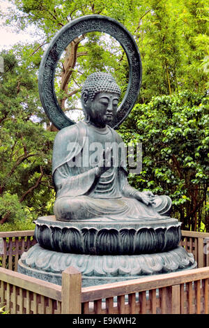 Statue of Buddha in the Japanese tea garden, San Francisco - Stock Photo