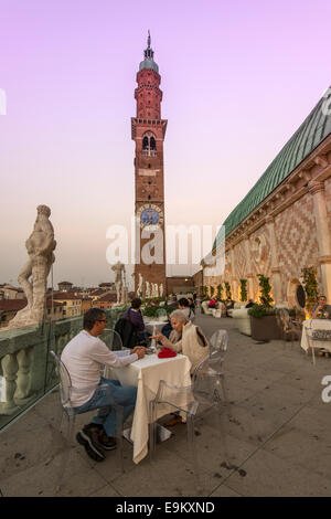 Basilica Palladiana rooftop terrace bar by night, Vicenza, Veneto ...