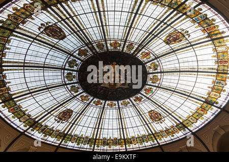 Stained glass dome skylight in the Correos, post office, in Valencia, spain. - Stock Photo