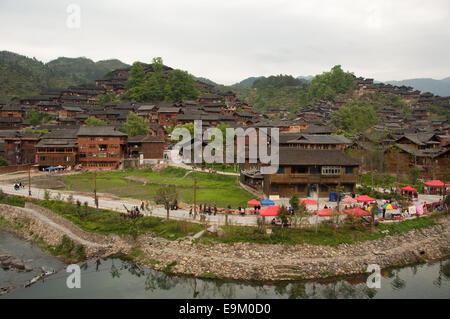 Xijiang Miao village, Guizhou Province, China - Stock Photo