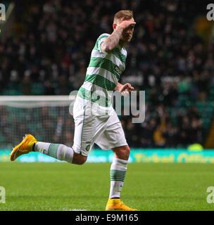 Glasgow, Scotland. 29th Oct, 2014. Scottish League Cup. Celtic versus Partick Thistle. John Guidetti celebrates - Stock Photo